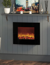 Bemodern Quattro 25 Inch Curved Wall Mounted Electric Fire With Remote And Led Back Lighting