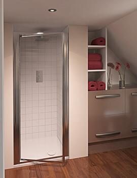 Aqua 4 Pivot Shower Door 900mm Polished Silver Clear Glass