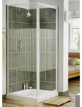 Aqua 3 Pivot Door And Side Panel 760mm White Stripe Glass