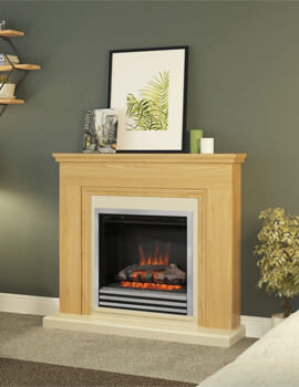 Bemodern Stanton 46 Inch Electric Fireplace In Natural Oak Finish