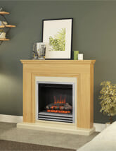Bemodern Stanton 46 Inch Electric Fireplace In Natural Oak Finish