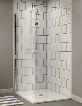 Aqualux Shine Shower Panel 1000mm Polished Silver - FEN1013AQU