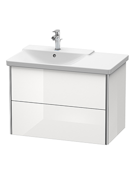 XSquare 810 x 473 x 565mm Wall-Mounted 2 Drawer Vanity Unit For Basin Left