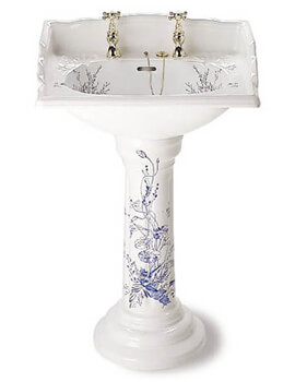 Victorian Blue Garden 635mm White 2 Tapholes Basin