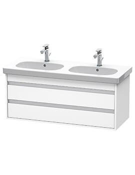 Ketho 2 Drawer 1150mm Wall-mounted Vanity Unit With D-Code Double Bowl Basin