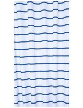 Navy Pinstripe Textile Shower Certain