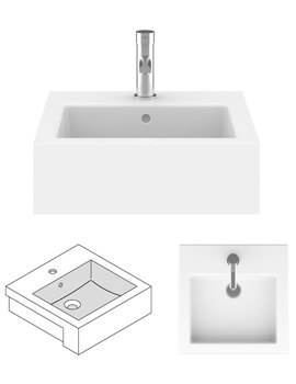 Kai 480mm Semi Recessed Basin With Overflow