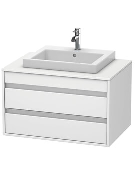 Ketho 550mm Depth Wall Mounted 2 Drawer Unit For Vanity Basin