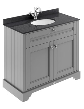 1000mm Double Door Unit And Ceramic Basin With Marble Top