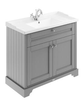1000 x 868mm Floor Standing Double Door Unit And Ceramic Basin