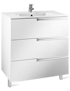 Victoria-N 600 x 740mm Gloss White 3 Drawer Vanity Unit