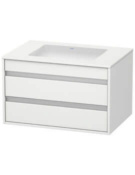 Ketho 550mm Depth Wall Mounted 2 Drawer Unit For Undercounter Basin F-Bonded