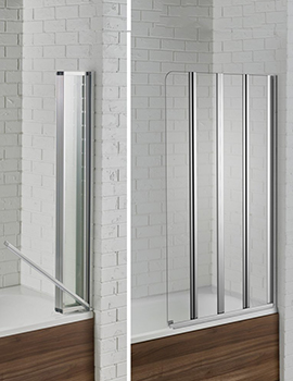 Aquadart Venturi 6 800 x 1400mm Swiftseal Semi-Frameless 4 Fold Bath Screen