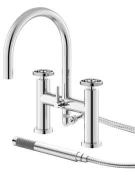 Revolution Industrial Deck Mounted Bath Shower Mixer Tap With Kit