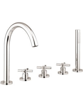 Totti II 5 Hole Deck Mounted Bath Shower Mixer Tap With Kit