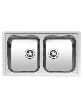 Centurio L20 Double Bowl Integrated Kitchen Sink 850 x 490mm