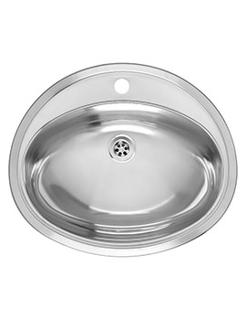 Pacific 570 x 480mm Stainless Steel Inset Sink Without Overflow