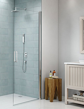 Merlyn 8 Series 8mm Glass Frameless Pivot Showerwall - Single