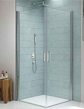 Merlyn 8 Series 8mm Glass 760 x 760mm Frameless Pivot Showerwall - Double