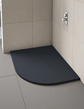 Merlyn TrueStone Offset Quadrant Tray With Waste 1000 x 800mm LH - Slate Black
