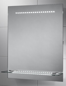 Sensio Nyla 500 x 600mm LED Mirror with Integrated Glass Shelf