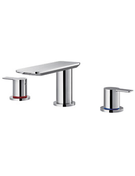 Spring 3 Hole Basin Mixer Tap With Clicker Waste