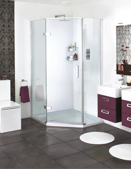 Spectra SP501 Quintets Hinged Door Shower Enclosure 1200 x 900mm - Offset Large Panel