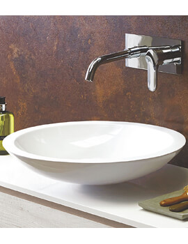 Round 500mm Solid Surface Counter Top Basin White