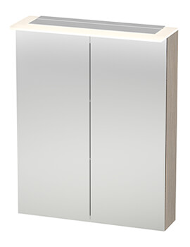X-Large 600mm 2 Door Mirror Cabinet With LED Lighting