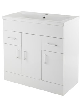Nuie Premier Eden Floorstanding 3 Door And 2 Drawer Cabinet With Basin - Image
