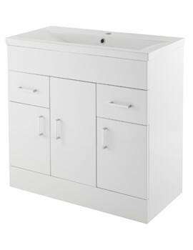 Nuie Premier Eden Floor-Standing 3 Door And 2 Drawer Cabinet With Basin - Image
