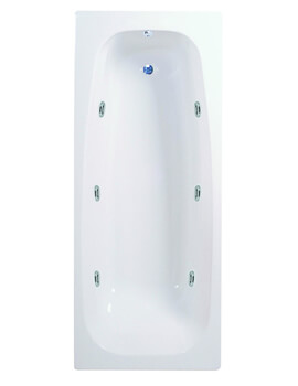 Aqua Caymen 1700 x 760mm 6 Jet Whirlpool Single Ended Straight Bath - Image