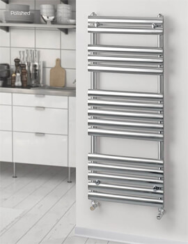 MHS Rads 2 Rails Oval 500mm Wide Heated Towel Rail - Central Heating - Dual Fuel - Electric - Image
