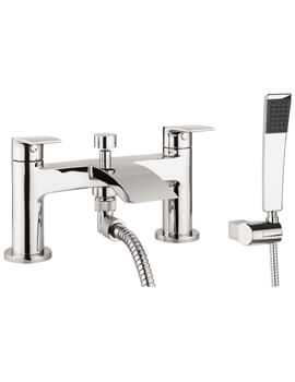 Crosswater Flow Dual Lever Deck Mounted Bath Shower Mixer Tap With Kit
