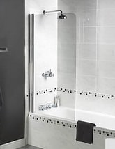 Aqualux Aqua 3 Shine Radius Bath Screen 850 x 1500mm - Small Image