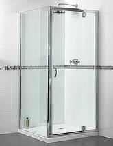 Aqualux Shine Silver Frame Polished Pivot Door 900mm - FEN0897AQU