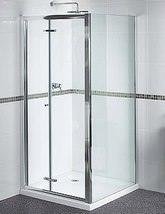 Aqualux Shine Bi-Fold Shower Door 800mm Polished Silver - FEN0899AQU