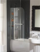 Essential Cascade Curved Bath Screen With Rail And Glass Shelves - EB304