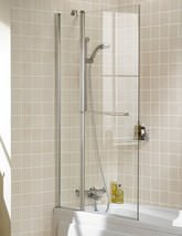 Lakes Classic Square Double Panel Bath Screen With Towel Rail 944mm