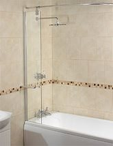 Aqualux Aqua 6 Splash Guard Bath Screen 300mm With Rail - Small Image