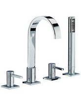 Mayfair Wave 4 Tap Hole Bath Shower Mixer Tap With Shower Kit - RDL049