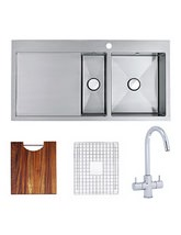 Astracast Vantage 1.5 Bowl Brushed Stainless Steel Kitchen Inset Sink And Tap Pack