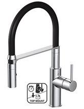 Teka TTM 110C Top Mount Pro Style Spray Chrome-Black Kitchen Sink Tap