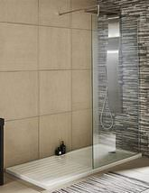 Nuie Premier Wetroom Walk-In Shower Panel With Support Bar - Small Image