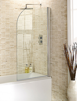 Aquadart Round Edge Bath Screen 1400 x 800mm - AQ6001